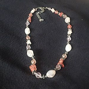 Coral and neutral colored necklace